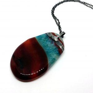 Amulet Brązowo-Błękitny Agat