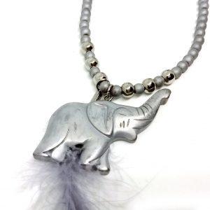 Naszyjnik Boho Hematytowy Słoń