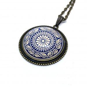 Mosiężny Wisior Porcelanowa Mandala